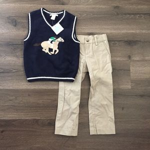 Janie and Jack Boys Horse Outfit Vest & Pants
